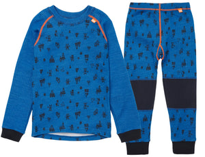 Helly Hansen Kid's Lifa Merino Set in Sonic Blue from the front