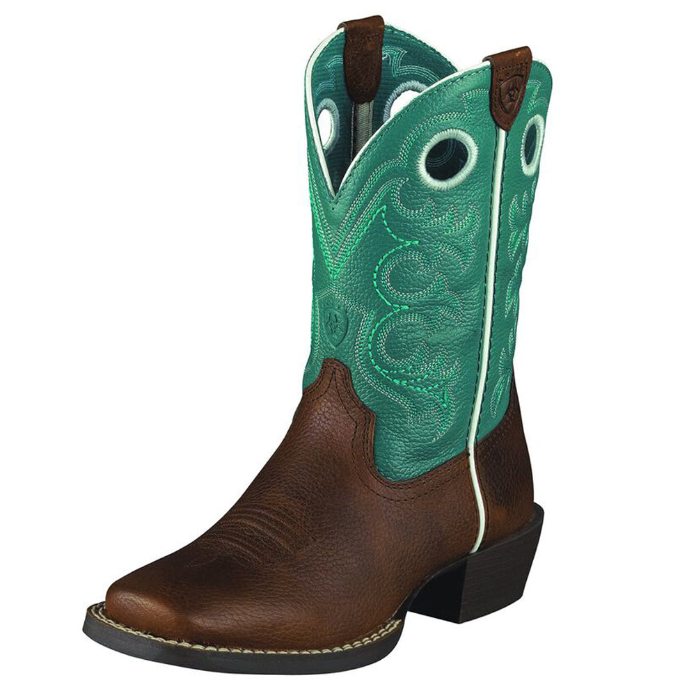 Kids Ariat Crossfire Western Boot in Brown Oiled Rowdy from the front