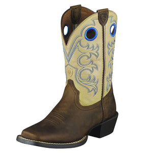 Kids Ariat Crossfire Western Boot in Distressed Brown from the front