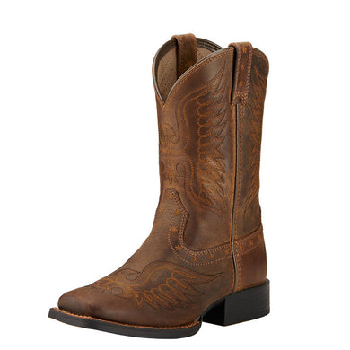 Kids Ariat Honor Western Boot in Distressed Brown from the front