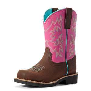 Kids' Ariat Jainey Western Boot in Saddleskirt/Dragon Fruit from the front