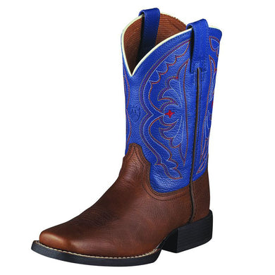 Kids' Ariat Quickdraw Western Boot in Brown Oiled Rowdy