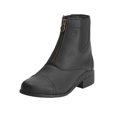 Kids' Ariat Scout Zip Paddock Boot in Black from the front