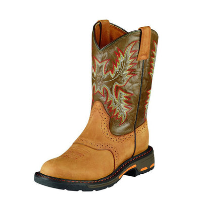 Kids Ariat WorkHog Pull On Boot in Aged Bark from the front