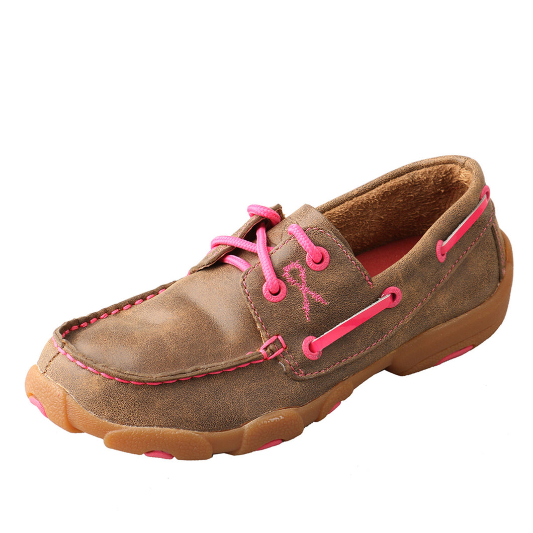 Kids' Twisted X Boat Shoe Driving Moccasins in Bomber & Neon Pink from the side view