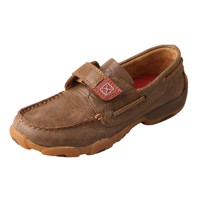 Kids' Twisted X Boat Shoe Driving Moccasins in Bomber from the side view
