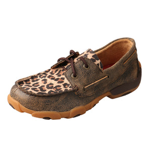 Kids' Twisted X Boat Shoe Driving Moccasins in Distressed & Leopard from the side view