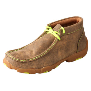Kids' Twisted X Chukka Driving Moccasins Shoe in Bomber & Neon Yellow from the side view