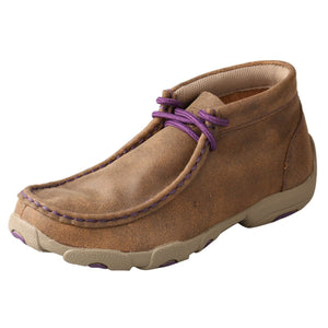 Kids' Twisted X Chukka Driving Moccasins Shoe in Bomber & Purple from the side view