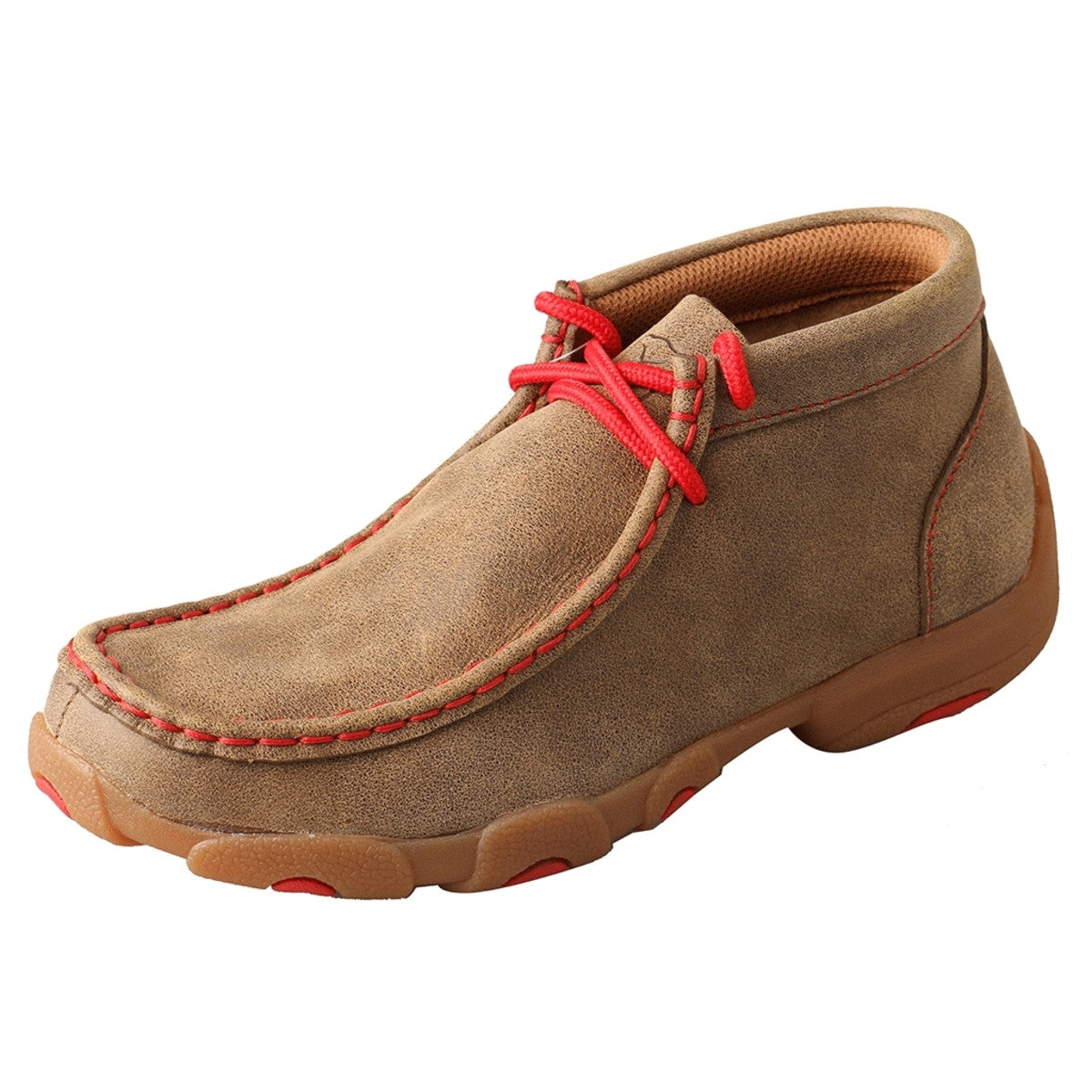 Kids' Twisted X Chukka Driving Moccasins Shoe in Bomber & Red from the side view