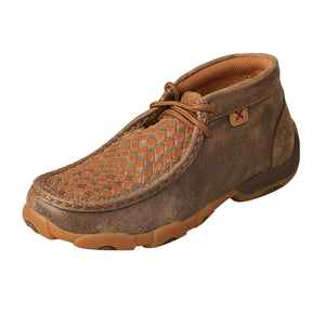 Kids' Twisted X Chukka Driving Moccasins Shoe in Bomber & Tan from the side view