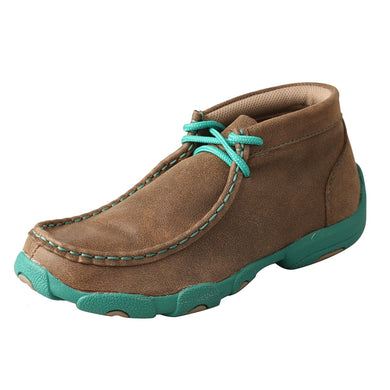 Kids' Twisted X Chukka Driving Moccasins Shoe in Bomber & Turquoise from the side view