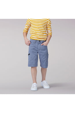 Grafton Cargo Short in Dark Denim Heather from Front View