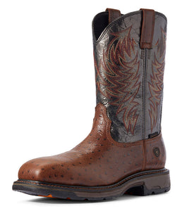 Men's Ariat WorkHog Composite Toe Work Boot in Dark Brown Ostrich Print