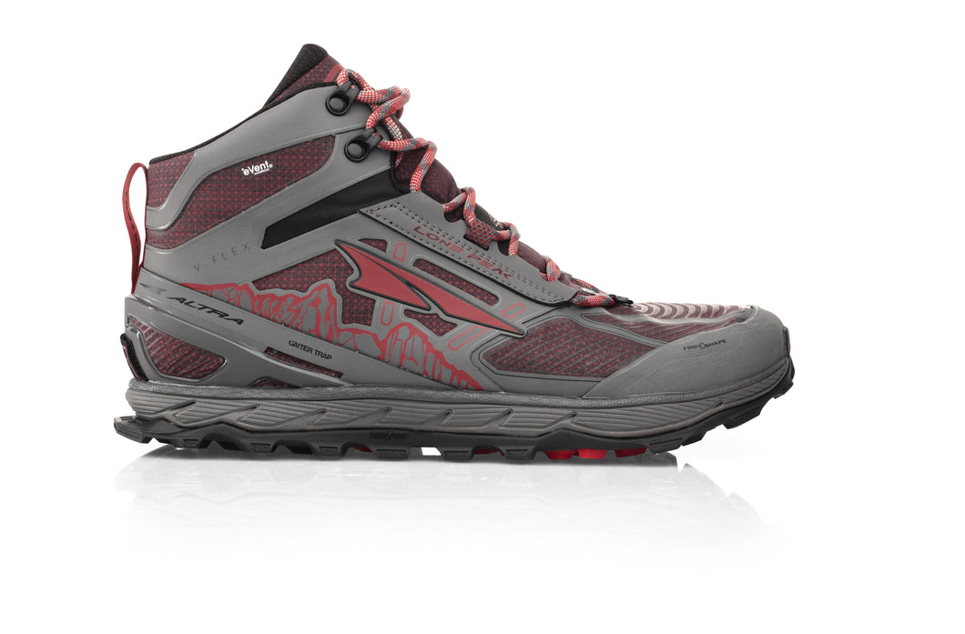 Altra Men's Lone Peak 4 Mid RSM Trail Running Shoe in Gray from the side