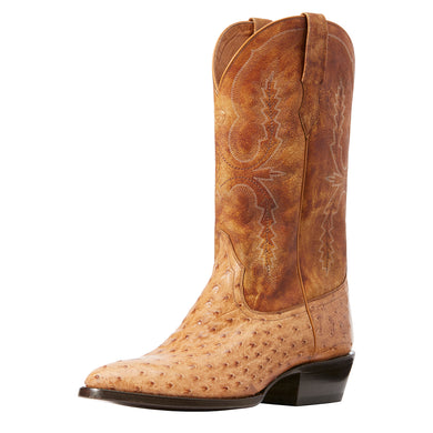 Men's Ariat Circuit R Toe Western Boot in Light Oak Full Quill Ostrich/Light Oak from the front