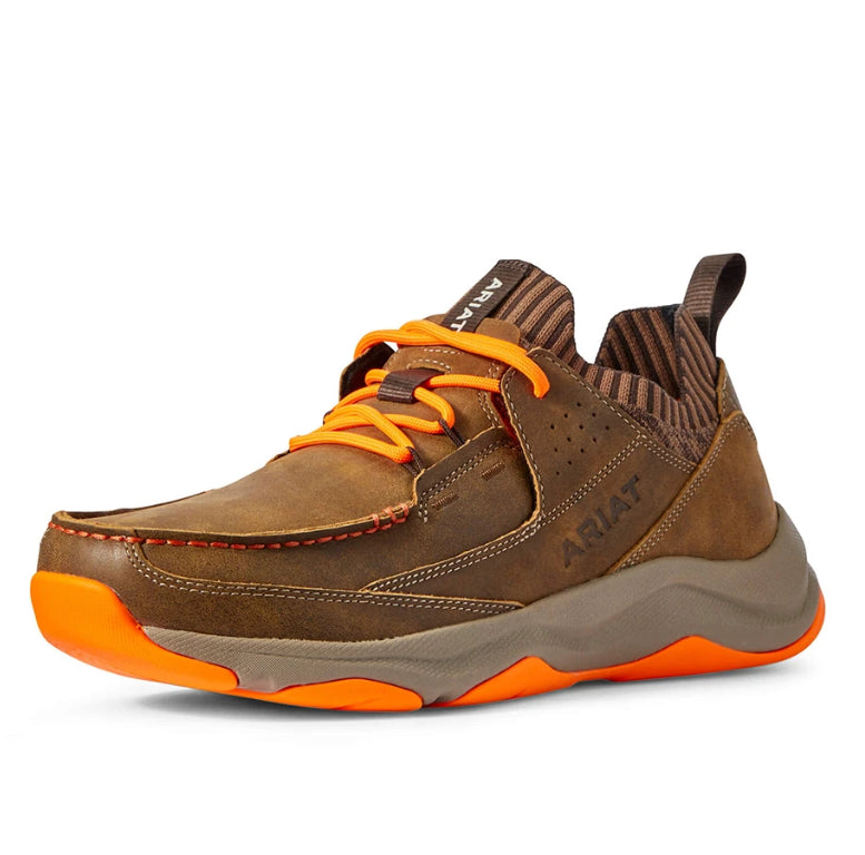 Men's Ariat Country Mile Athletic Western Sneaker in Brown Bomber/Orange from the front