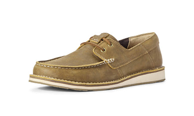 Men's Ariat Cruiser Castaway Boat Shoe in Brown Bomber from the front