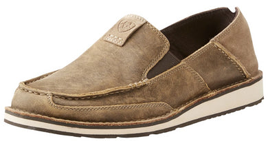 Men's Ariat Cruiser Slip-on Shoe in Brown Bomber/Relaxed Bark from the front