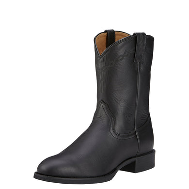 Men's Ariat Heritage Roper Western Boot in Black from the front