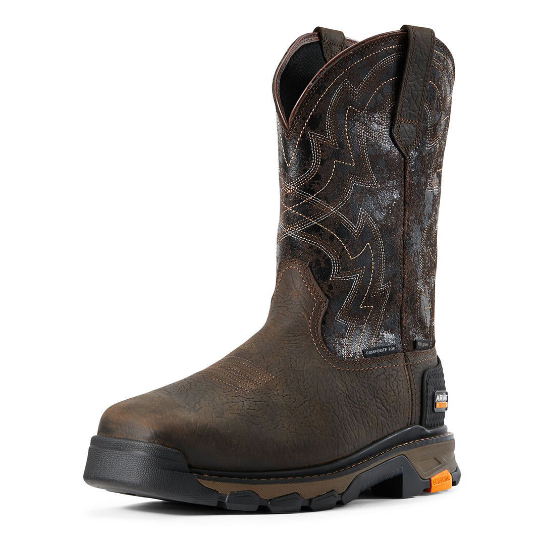 Men's Ariat Intrepid Force H2O Composite Toe Work Boot in Bruin Brown/Crazy Black from the front