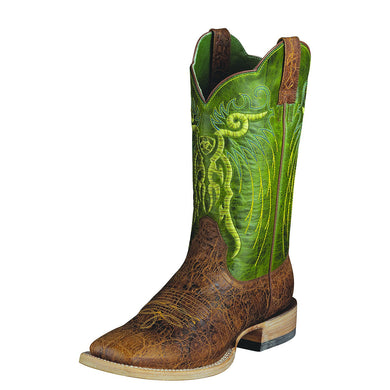 Men's Ariat Mesteno Western Boot in Adobe Clay/Neon Lime from the front