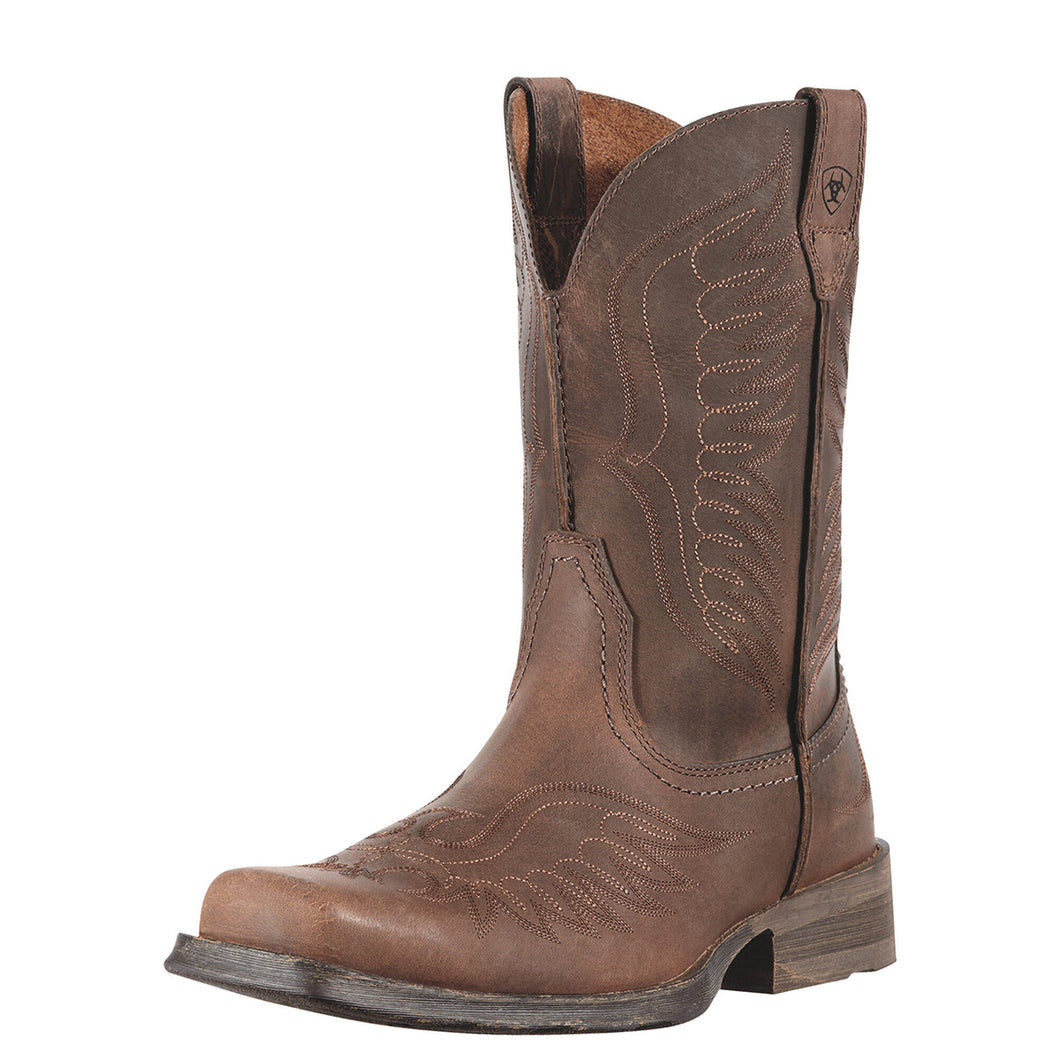 Men's Ariat Rambler Phoenix Western Boot in Distressed Brown from the front