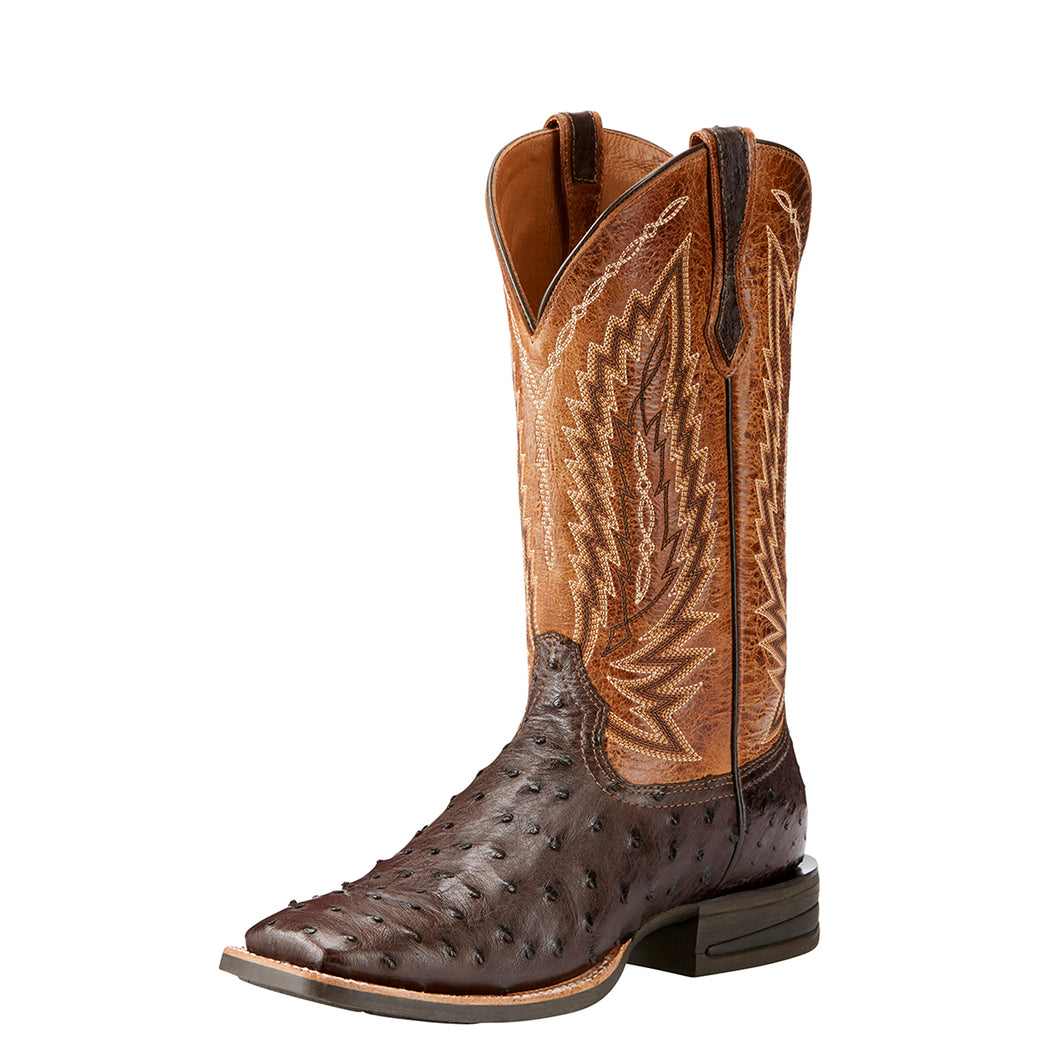 Men's Ariat Relentless Platinum Western Boot in Tabacco Full Quill Ostrich/Tough Company Tan