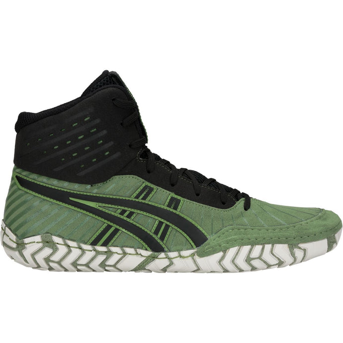 Men's Asics Aggressor 4 Wrestling Shoe in Cedar Green/Black
