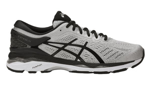 Men's Asics Gel-Kayano 24 Running Shoe in Silver/Black/Mid Grey