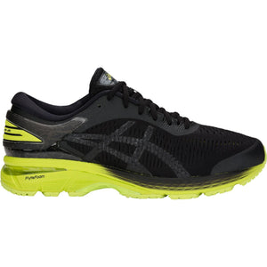 Men's Asics Gel-Kayano 25 Running Shoe in Black/Neon Lime