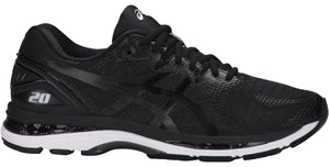 Men's Asics Gel-Nimbus 20 2E Running Shoe in Black/White/Carbon