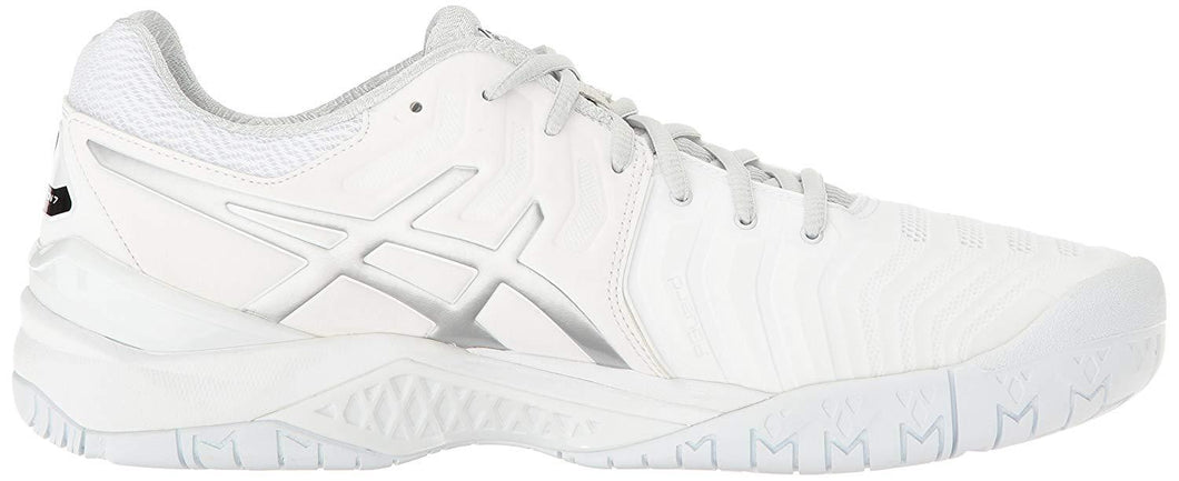 Men's Asics Gel-Resolution 7 Tennis Shoe in White/Silver