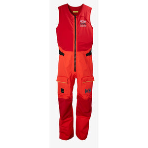 Helly Hansen Men's Aegir Race Salopette Sailing Pants in Alert Red from the front