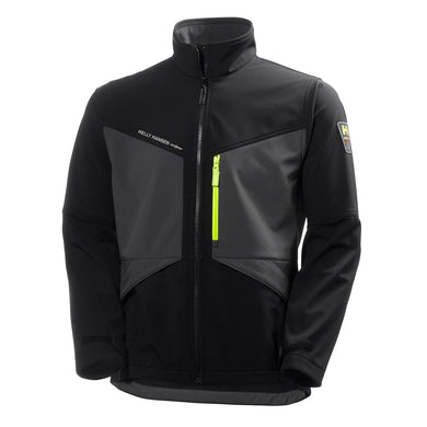Helly Hansen Men's Aker Softshell Jacket in Black/Charcoal from the front
