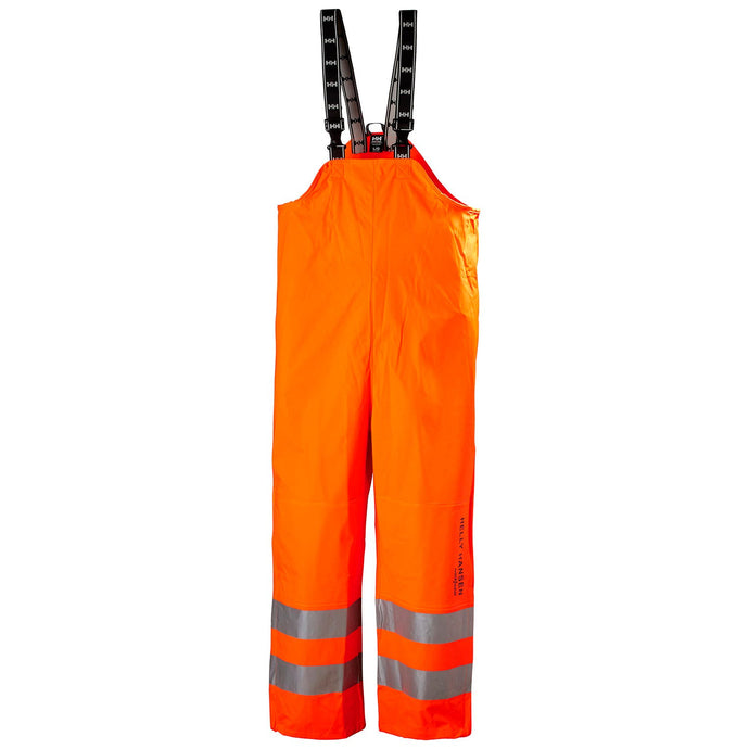 Helly Hansen Men's Alta Hi Vis Class 2 Rain Bib in HV Orange from the front