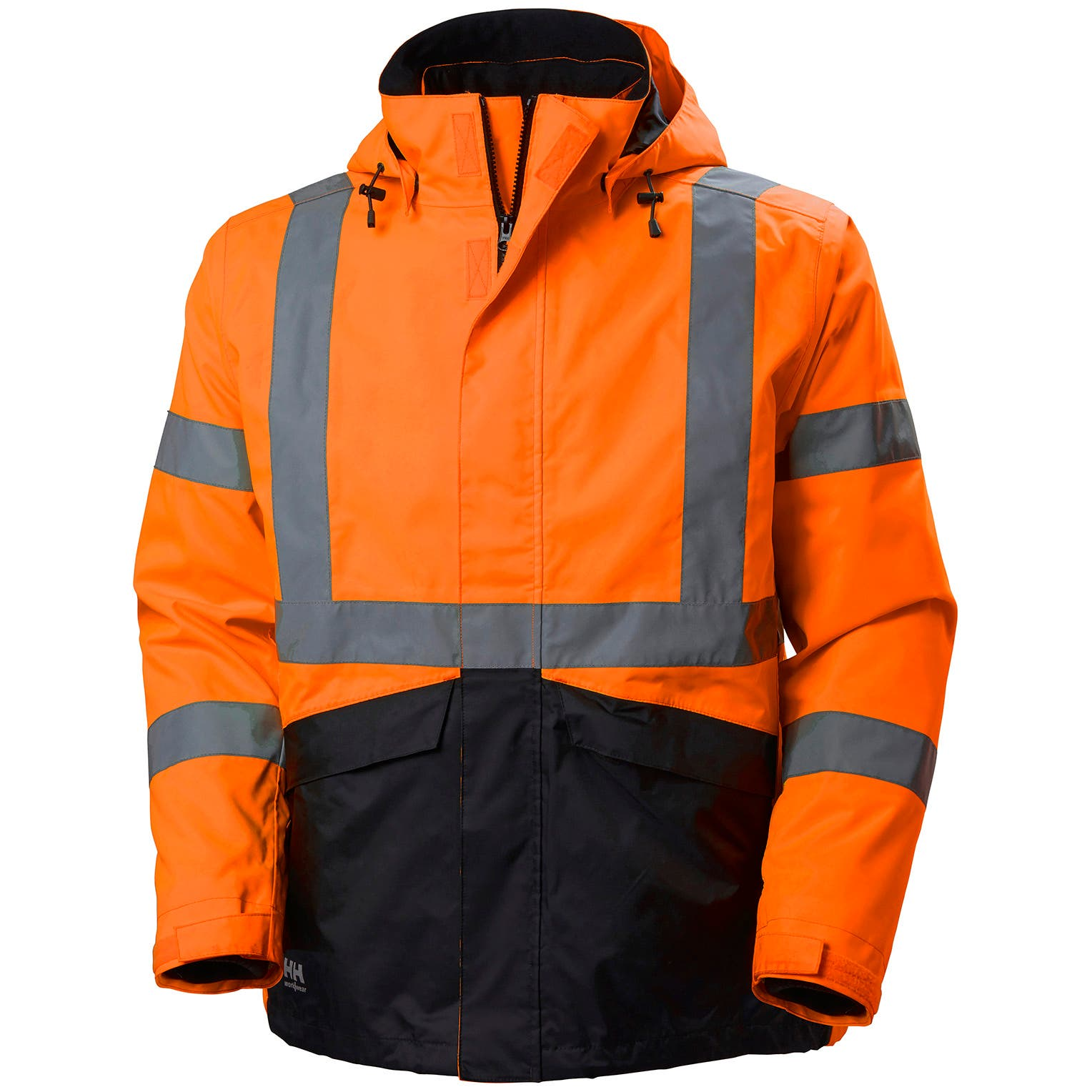 Helly Hansen Men's Alta Hi Vis Class 3 Shell Jacket in HV Orange/Charcoal from the front