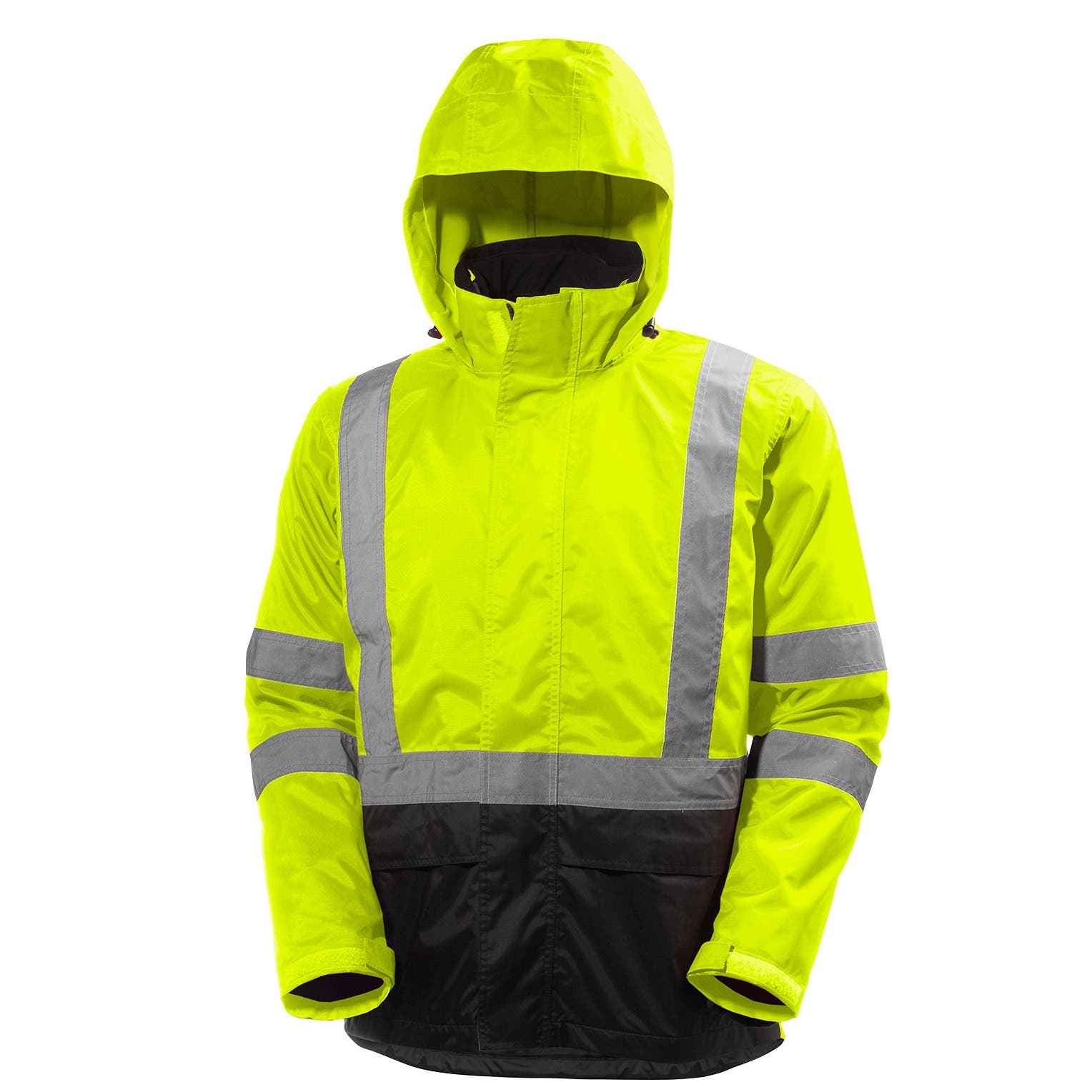 Helly Hansen Men's Alta Hi Vis Class 3 Shell Jacket in HV Yellow/Charcoal from the front