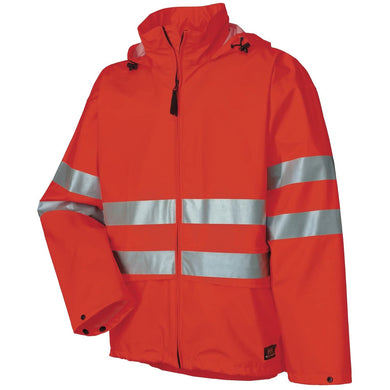 Helly Hansen Men's Alta High Visibility Safety CSA Rain Jacket in HV Orange from the front
