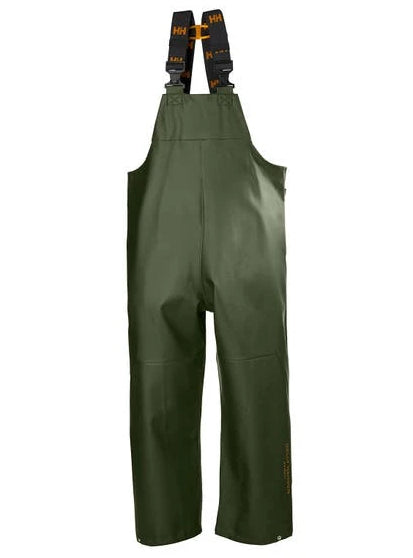 Helly Hansen Men's Gale Rain Bib in Army Green from the front