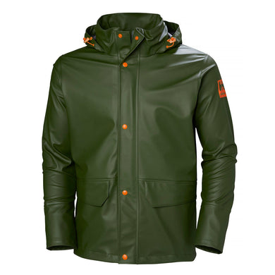 Helly Hansen Men's Gale Rain Jacket in Army Green from the front