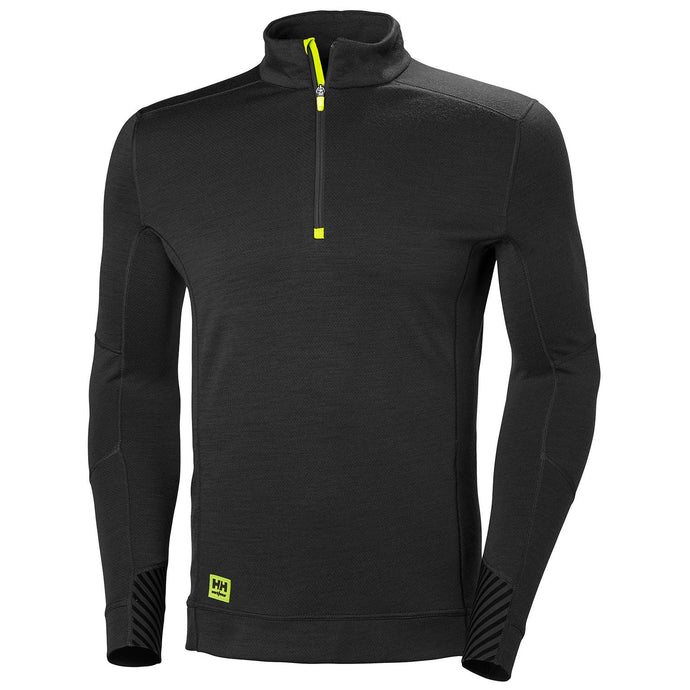 Helly Hansen Men's HH Lifa 1/2 Zip in Black from the front