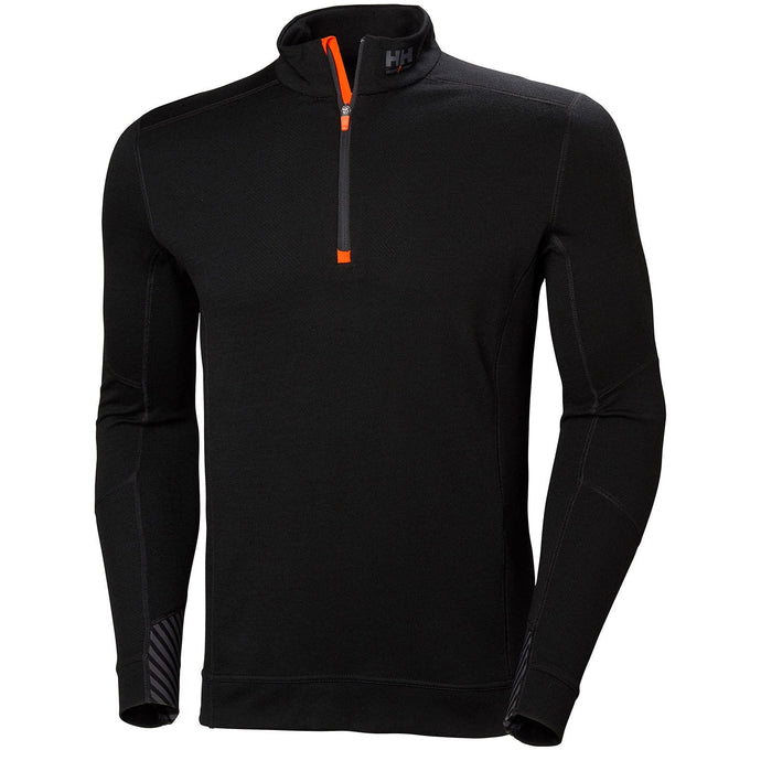 Helly Hansen Men's HH Lifa Merino Half Zip in Black from the front