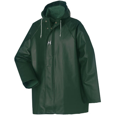 Helly Hansen Men's Highliner Waterproof PVC Jacket in Dark Green from the front