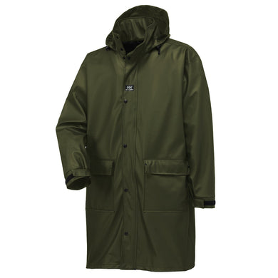Helly Hansen Men's Impertech Waterproof Coated PU Long Rain Jacket in Green Brown from the front