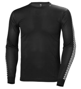 Helly Hansen Men's Lifa Stripe Crew in Black from the front