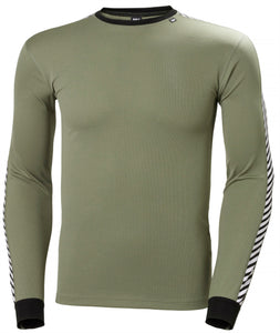 Helly Hansen Men's Lifa Stripe Crew in Lav Green from the front
