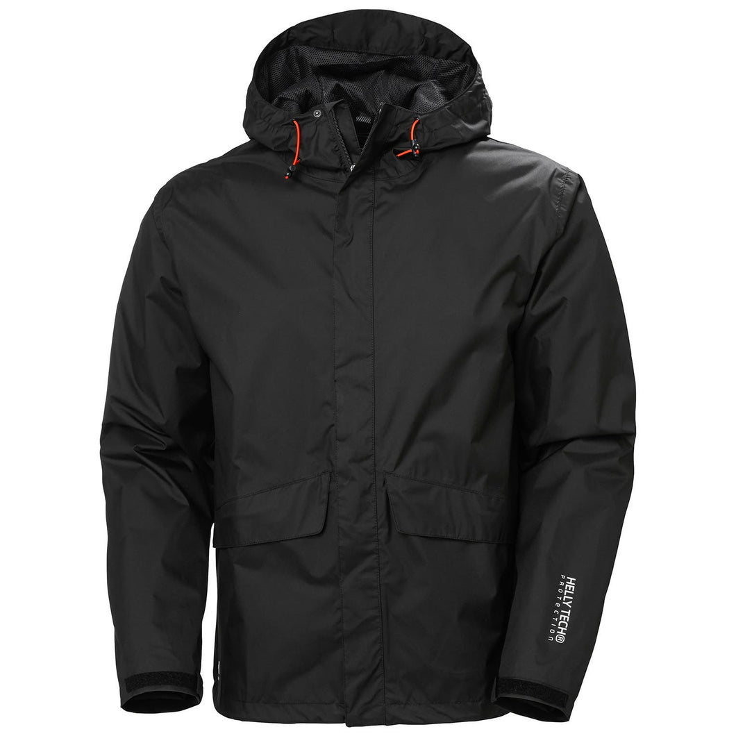 Helly Hansen Men's Manchester Waterloo Rain Jacket in Black from the front