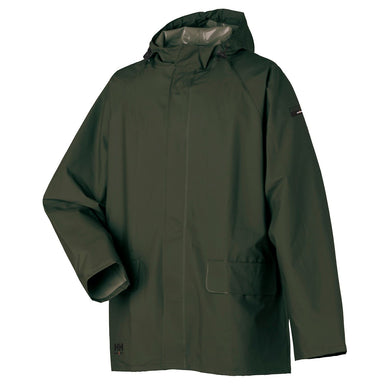 Helly Hansen Men's Mandal Rain Jacket in Army Green from the front
