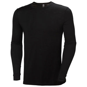 Helly Hansen Men's Merino Mid Long Sleeve in Black from the front